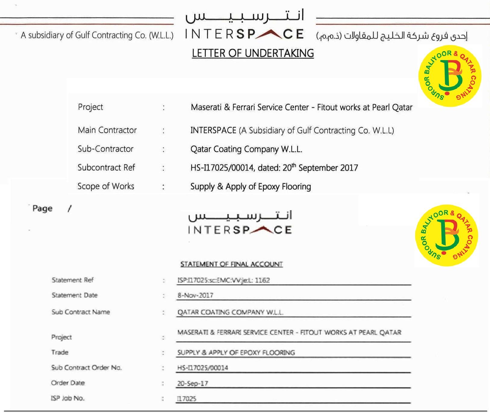 Final Certificate Qatar Coating Co Suroor Baliyoor